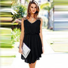 Fashion Rhinestone Sleeveless Gathered Waist Chiffon Dress Chiffon Dress, Dress Skirt, Sheer Chiffon, Cute Dresses, Casual Dresses, Awesome Dresses, Moda Outfits, Fru Fru, Look Chic