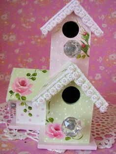 shabby chic birdhouses | Hand Painted Birdhouse Shabby Pink Roses, Pearls, Crystal Knob Chic