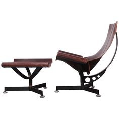 Leather Lounge Chair and Ottoman by Max Gottschalk | From a unique collection of antique and modern lounge chairs at https://www.1stdibs.com/furniture/seating/lounge-chairs/