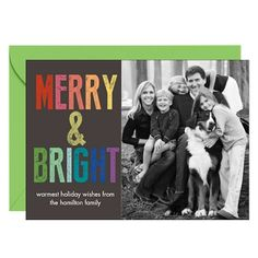 Colorful Letters Merry & Bright Horizontal Holiday Photo Card
