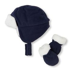 s Baby Boys Faux Sherpa Trapper Hat And Mittens Set - Blue - The Children s  Place 2a222ccd1b1c