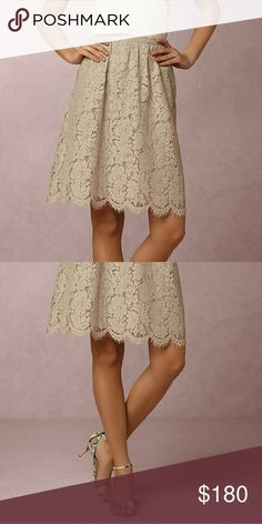 NWT Anthropologie Lydia lace skirt, grey NWT, never worn, still in plastic!  Gorgeous scalloped lace skirt from Anthro's BHLDN line.  Size 10.  Modern tea length.  Back zip.  Pockets!!  Nylon and cotton lace with poly lining.  Such a beautiful, feminine piece that's equally perfect for a formal event and dressed down for work! Anthropologie Skirts