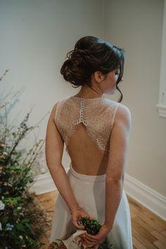 Crédit photo : Mylène Michaud Photrographe Lace Wedding, Wedding Dresses, Silhouette, Backless, Fashion, Skirt, Two Piece Dress, Unique Dresses, Bride Dresses