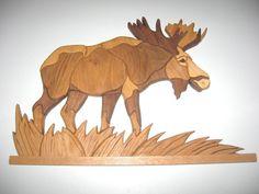 Moose Intarsia WallHanging   22.5 in x 14.5 in. by kitswoodart