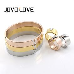 New V Famous Brand Women Rings Gold Plated V Stainless Steel High Polished Luxury Jewelry Bangle Female Top Quality Bracelet