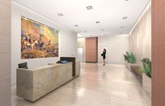 Stunning office lobby rendering for 250 Columbine