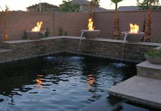 love the fire/water features