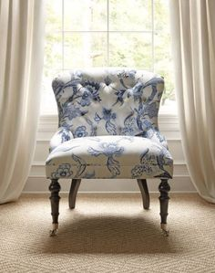 Middleton Chair in Shrewsbury Blue White from Thibaut fine furniture. Available at the DD Building suite 615 Blue Rooms, White Rooms, Fine Furniture, Dining Furniture, House Furniture, Muebles Shabby Chic, Take A Seat, White Houses, Upholstered Furniture
