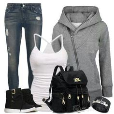 Casual and Stylish Fall Fashion Outfits, Swag Outfits, Autumn Fashion, Casual Outfits, Cute Outfits, Womens Fashion, Fashion Ideas, College Outfits, Casual Looks