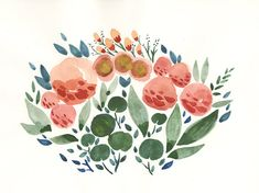 Flowers and Leaves Watercolor Art Print 8.5x11 by BethanyEdenArt