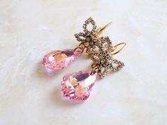 Swarovski Earrings Pink Teardrop Gold Butterfly BE24 by SomsStudio, $28.00