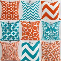 Turquoise & Orange Pillow Covers  18x18  by DeliciousPillows
