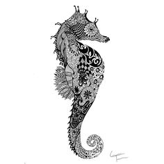 Zentangle Seahorse Zentangle Inspired Art (ZIA)
