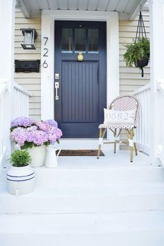 Image result for White house grey trim and blue door