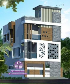 Top 30 Most Beautiful Houses Front Designs 2019 - Engineering Discoveries House Outer Design, House Wall Design, 3 Storey House Design, Bungalow House Design, Unique House Design, House Front Design, Modern Design, New Model House, Model House Plan