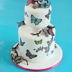 Cut Out Rainbow Butterfly Cake Kochen Pinterest Best