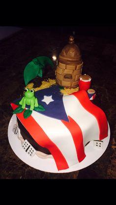 Puerto Rico Themed Cake ~ Made by Lali Pretty Cakes, Beautiful Cakes, Amazing Cakes, Pr Flag, Comida Boricua, Puerto Rico Food, Dad Cake, Cool Cake Designs, Puerto Rican Recipes