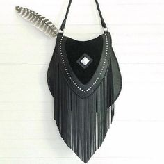 64b7a0c6055 Festival Fashion ◈ Boho vibes with this cross over black leather fringe bag  from Turquoise Over