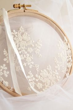 ♒ Enchanting Embroidery ♒  white embroidery on tulle