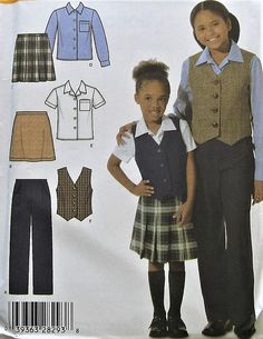 Girls Skirt, Shirt, Vest, and Pants Sewing Pattern UNCUT Simplicity 4978 Sizes 7-14