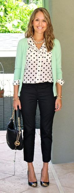 polka dot top, black cropped trousers with a fun-colored cardigan. I love this whole look.