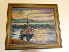◕¤ Framed antique signed oil #painting on #canvas Mediterranean sea paintin... Discover http://etsy.me/2zpBr6S