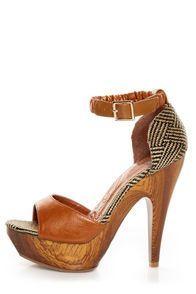 b09670bd3499 Mona Mia Trinidad Tan Woven Platform Heels Flats