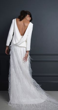 Maribou ostrich feather skirt and Laura top, Halfpenny London #weddingdress