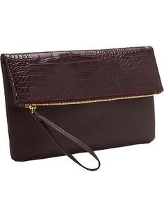 Faux-Leather Fold-Over Clutch | Old Navy