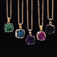 SEDmart Gold Plated Drusy Square Shape Druzy Rose Quartz Pendant Necklace For Women Crystal Amethyst Wedding Necklaces Jewelry