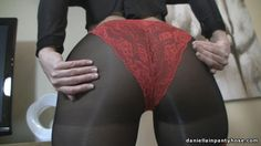 sexy seam back pantyhose and red panty ass - Daniella In Pantyhose Videos