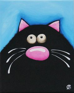 Fat Cat Art Original painting whimsical black cat by Lucia Stewart blue (2) #Modern