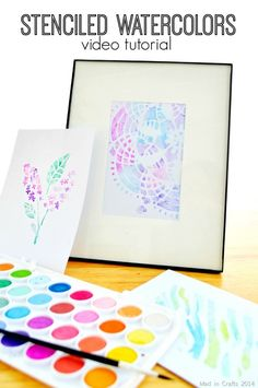 Stenciled Watercolors Video Tutorial - Mad in Crafts