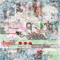 Mix and Match Scrapbook Pages!  Maryia Potapovich created this amazing mixed media layout using nine of the BoBunny collections. Love all the layers! #BoBunny, @Maryia Potapovich