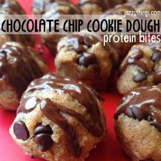 Cookie Dough Protein Snacks (sub for honey) Vegan Protein Snacks, Protein Bites, Protein Power, Protein Foods, Healthy Bars, Healthy Desserts, Healthy Life, Healthy Food, Healthy Living