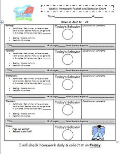 Weekly Homework Checkoff Sheet From Ideasbychristy On