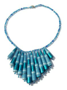 Blue Metallic Large Statement Necklace  by PurpleSmoothie on Etsy, $29.95