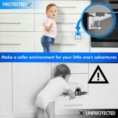 Is your child beginning to explore his surroundings, and you are concerned that he may stumble into the cabinet with toxic substances or the drawer with knives or medicine?  Are you thinking how to keep him away from danger in a simple but effective way?  You've found the solution! With the LoxyHome Child Safety lock set,you can childproof cabinets, drawers, cupboards with ease.  What you should expect:        Universal fit - Our baby proof latches can be installed on almost any cabinet… Cupboards, Cabinets, Lock Set, Child Safety Locks, Childproofing, Our Baby, Your Child, Little Ones, Knives