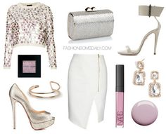 What to Wear For Your Birthday Topshop Knitted Large Sequin Jumper Ruthie Davis Lucy Sandal Jimmy Choo Minicharm Glitter Fabric Clutch Christian Louboutin Lady Peep Veronica Beard Asymmetric Zip Front Pencil Skirt