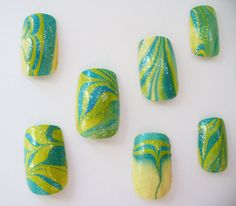 Funky Blue Green Yellow Water Marble Nail Art