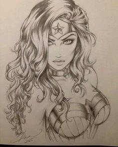 Wonder Woman - Art by Dawn McTeigue Drawing Sketches, Pencil Drawings, Art Drawings, Drawing Ideas, Pencil Art, Sketching, Comic Books Art, Comic Art, Wonder Woman Art