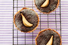 Pear and chocolate tarts recipe, NZ Womans Weekly – These rich tarts not only taste sensational they look amazing As a variation use fresh or frozen raspberries over the top of the filling - Eat Well (formerly Bite) Chocolate Tarts, Chocolate Icing, Chocolate Pudding, Melting Chocolate, Tart Recipes, Dessert Recipes, Desserts, Canning Pears, Pastry Shells