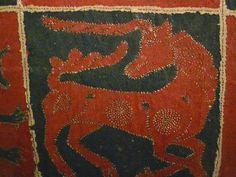 Unicorn Intarsia on 16th century coverlet. Note, no beard!