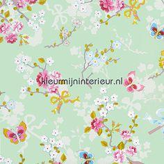 Pip chinese rose green 386036 | PiP Wallpaper Eijffinger | kleurmijninterieur.nl