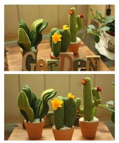 Felt cactus garden For my too hot to grow anything area Cute Crafts, Felt Crafts, Diy And Crafts, Felt Flowers, Fabric Flowers, Cactus Craft, Felt Succulents, Crochet Cactus, Felt Patterns