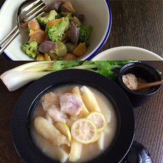Dinner : MENU MENU : salad サラダ macaroni salad: MENU : main 魚料理 Cod cooked in lemon: