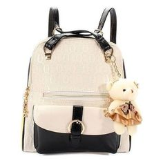 Women Bear Pendant Leather Backpack ($17) ❤ liked on Polyvore featuring bags, backpacks, backpack, rose red, real leather backpack, genuine leather backpack, white bags, leather bags and leather zipper backpack
