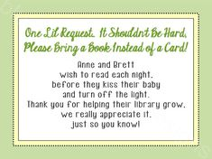 Bring a Card Instead of a Book Baby Shower by BluegrassWhimsy, $5.00