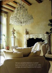 That chandelier is amazing.  French country living space