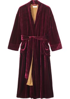 Sumptuous, deep raspberry gown in a fluid and sheeny, silk and viscose velvet. Generously cut and long with a wide wrappy tie and two patch pockets. Lined in contrasting cotton.